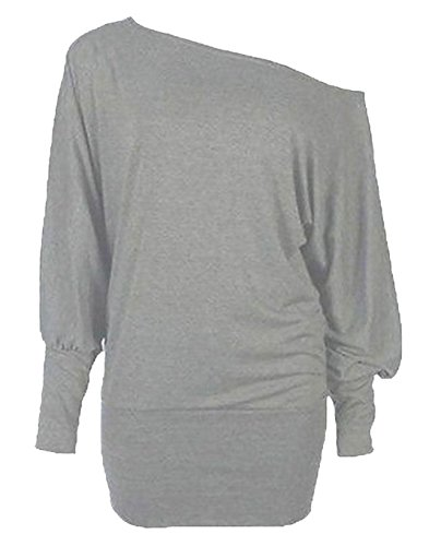 Flashdance Style Grey Baggy Batwing Sleeve Off-Shoulder Top. Sizes 8 to 24