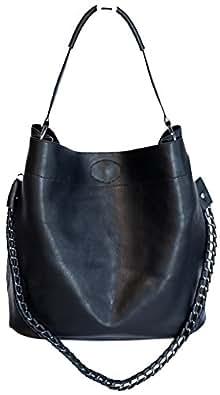 LucieElle Sac Femme porté épaule porté bandoulière sac porté main - 2 SACS en 1 - Margaux- (NOIR)
