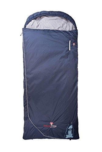 Grüezi-Bag Biopod Wolle Murmeltier Comfort XXL Links Schlafsack, 225x 95 cm, Almwolle Füllung, 1775g, Packmaß Ø 21 x 35 cm, Camping/Hütte/Zelten, blau -