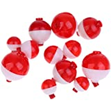 Segolike Lot 12 Pieces Fishing Floats Snap on Float Bobbers Hard ABS Plastic Push Button Fishing Round Buoy Float Bobber