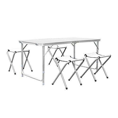 Homfa tavolo pieghevole di gardino da campeggio, tavolino bianco picnic familiari con 4 sedie, set richiudibile a valigetta per spiaggia terrazzo viaggio, altezza regolabile 55-70cm (1.2m bianco + 4 sedie)