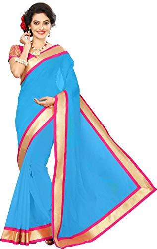 Bollywood Indian Traditional Collection Party Wear Cotton Silk Saree Sari,Function, Karneval, Birthday Dress, Geburtstag, Indische Kleid,Hippie Kleid (Sky Blue) Blue Silk Sari Saree