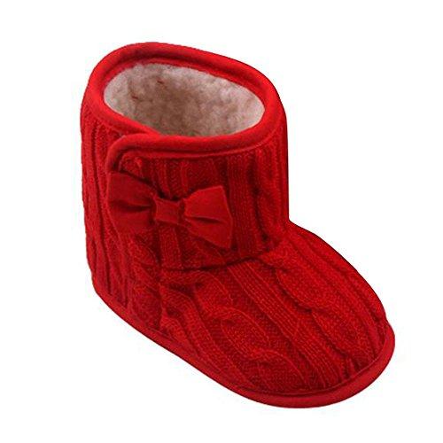 FNKDOR Babyschuhe Mädchen Jungen Neugeborene Weiche Rutschfest Stiefel (3-6 Monate, (Kleinkind Rote Schuhe)