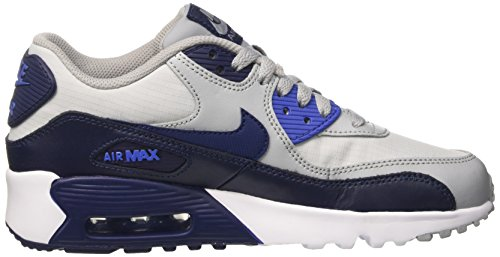 Nike Unisex-Kinder Air Max 90 Mesh Gs Sneakers Grau (Wolf Grey/binary Blue/comet Bl)