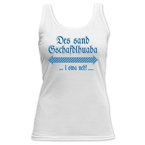 Bayern Damen TankTop <->          Gschafdlhuaba          <->           Fun Geschenk, Goodman Design Weiss Weiß