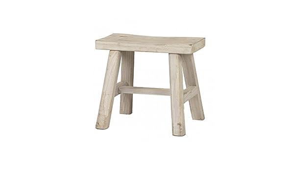 Pomax sgabello in legno massello sbiancato zen amazon casa e