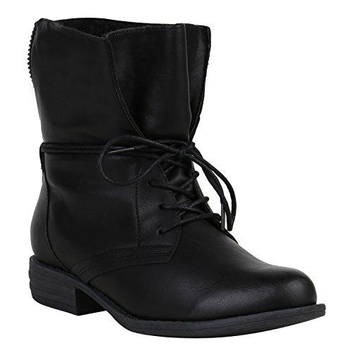 Damen Stiefeletten Warm Gefütterte Stiefel Schnürstiefeletten 151513 Schwarz Arriate 38 Flandell