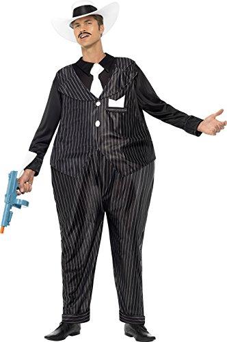 Smiffys, Herren Fat Cat Kostüm, Reif-Jumpsuit, Hut und Schlips, One Size, (Halloween Ideen Kostüme Gangster)