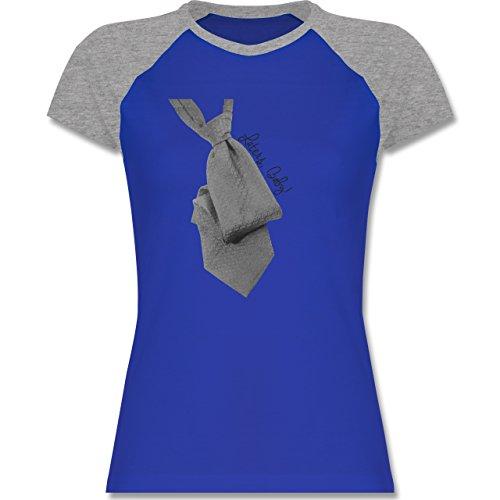 Statement Shirts - Laters, Baby! Grey Krawatte Tie - zweifarbiges Baseballshirt / Raglan T-Shirt für Damen Royalblau/Grau meliert