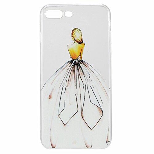 """WYSTORE iPhone 7 Plus (5.5"""") 2016 Slim Coque Transparent Etui, iPhone 7 Plus Case Souple TPU Silicone Clair Transparente Ultra Mince Premium Semi- transparent , Case Anti Rayure Anti case - pissenlit  Robe"""