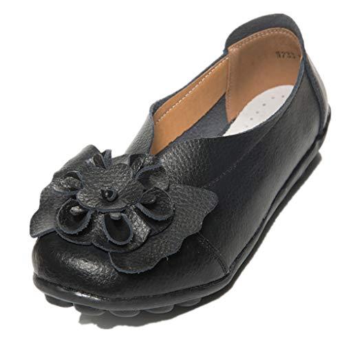 Dorical Damen Mädchen Erbsen Schuhe Casual Flach Schuhe Gartenschuhe Kunstleder Slip on Komfortable Schuhe Weich Leichte Bequem Rutschfest Freizeitschuhe Halbschuhe (Schwarz,38)
