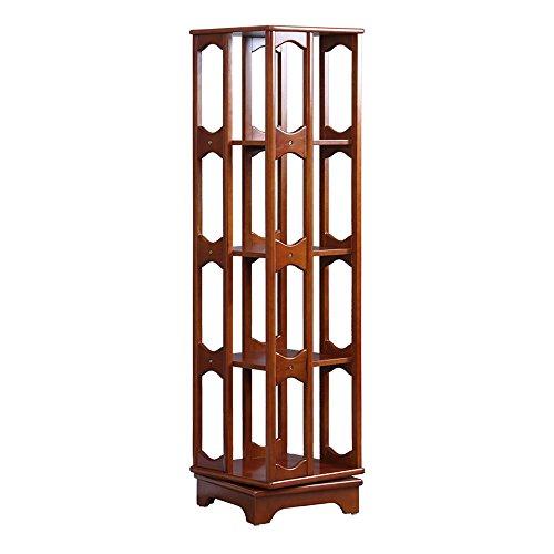 Shelves Duo Bücherregal Drehbares Bücherregal mit 4 Ebenen, 100% Holz, 360 ° drehbarem Schrankregal, für bis zu 300 Dvds Oder Bücher, Spinning Design, Hängeregal, (Farbe : Nussbaum) (Körbe Nussbaum)
