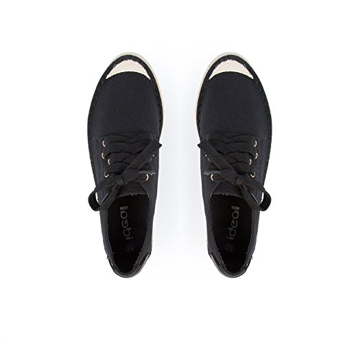 Ideal Shoes Herren-Sportschuhe ausgeglichenen Trudy Geflecht aus jute Schwarz - Schwarz