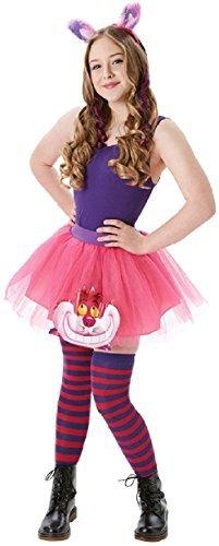 Damen oder Teen Cheshire Cat Alice im Wunderland Tutu Buch Tag Woche Verkleidung Kleid Kostüm Outfit Satz - Rosa, 36-38
