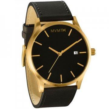 Mvmt Homme Watch Montre Noir/doré Bracelet en cuir mm01bgl