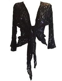 Sparkly Sequin Lace Front Tie Evening Bolero Shrug in Sizes 12-24