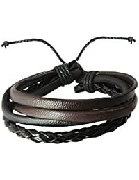 RICH AND FAMOUS Bronze Leather Multistrand Bracelet for Men