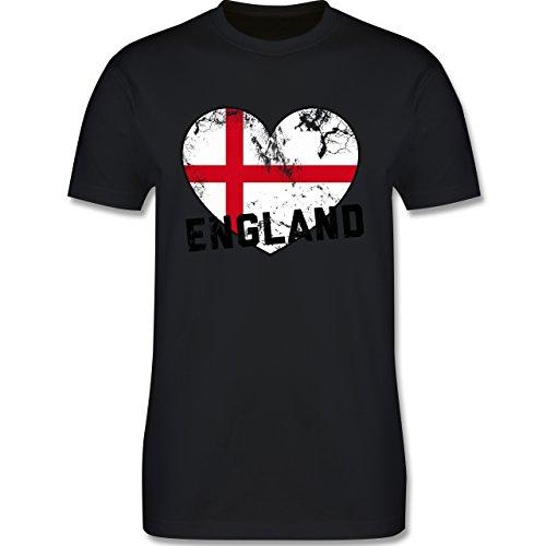 EM 2016 - Frankreich - England Herz Vintage - Herren Premium T-Shirt Schwarz
