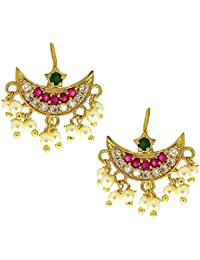 ac0188530 Vama Fashions Pink-Green Colour Wonderful Traditional Press Bugadi Clip-on  Earrings For Women