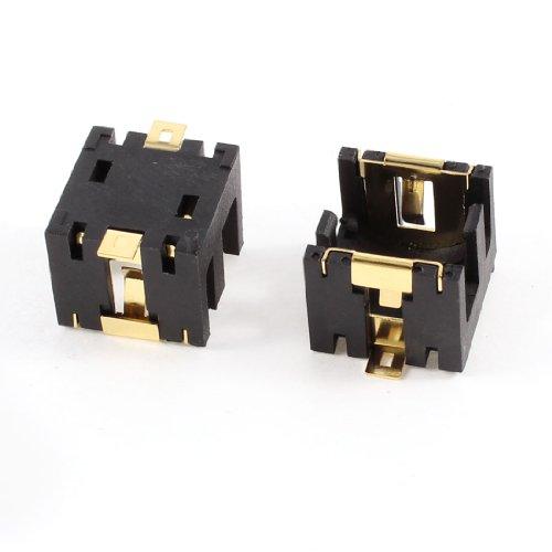 Sourcingmap® 2PCS Black Plastic Cell Button Lithium Batteries Socket Holder for 2 x AG13/LR44