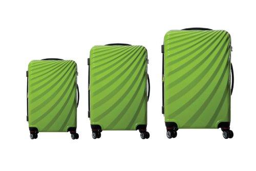 Viviana Trolley Polycarbonat Kofferset TSA Doppelrollen - Farben und Größenvielfalt (3er Set, Grün)