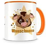 Samunshi® Kinder-Tasse mit Namen und einer Lustigen Kuh als Motiv Bild Kaffeetasse Teetasse Becher Kakaotasse