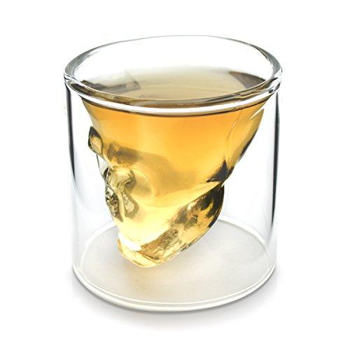 für Tequila & Ouzo - Doppelwandig Totenkopf Design 75 ml - Skull Schnapsglas Hausbar & Party ()