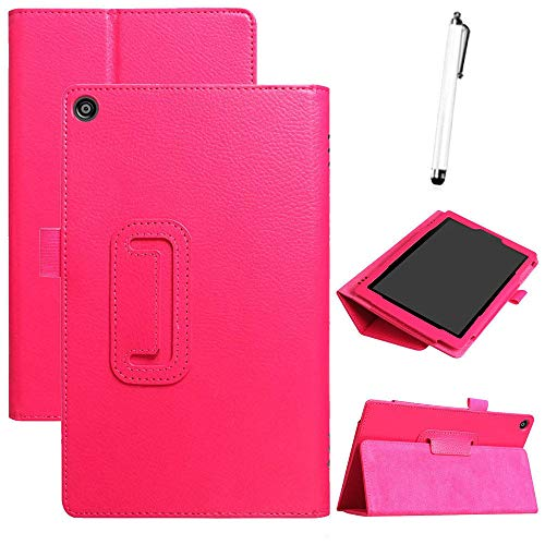 Fcostume for Amazon Kindle Fire HD 8 2018 8th Gen Ultra Slim PU Leather Case Cover Stand (hot pink)