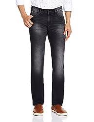 Wrangler Mens Skanders Slim Fit Jeans(8907222649333_W15517W2298B_38W x 33L_Brushed Black)