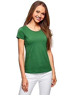 oodji Ultra Mujer Camiseta Básica de Algodón