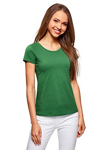 Oodji ultra donna t-shirt basic in cotone, verde, it 40 / eu 36 / xs