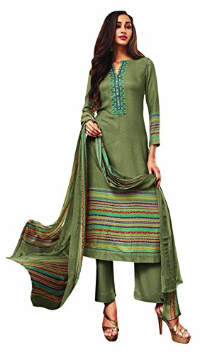 Rosaniya Glossy Cotton Un stitched Embroided Self Digital Printed salwar suit for...