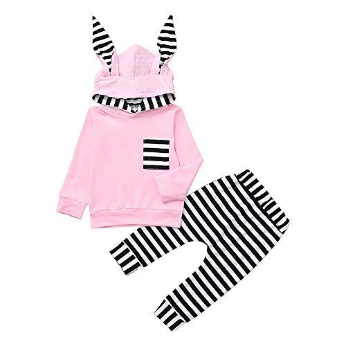 Huihong Neugeborenes Baby Jungen Mädchen 3D Bunny Ohr Gestreift Hoodie T Shirt Tops + Hosen 2 Pcs Lustiges Kleidungsset (Rosa, 6-12 Monate /80)