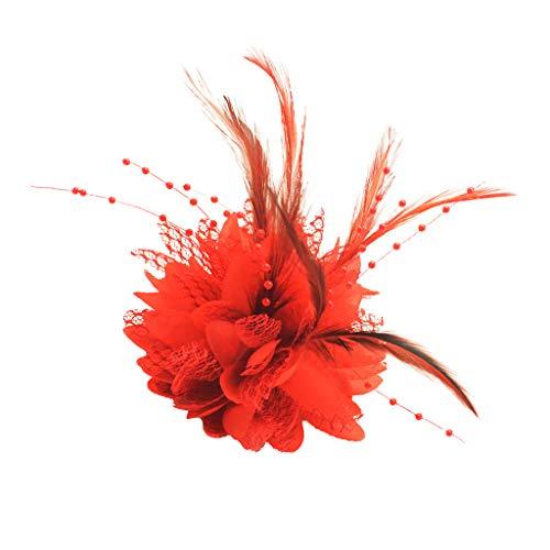 Baoblaze Charming Feder Haarspange Frauen Mädchen Haarnadel Cocktailparty Blume Haarspange Fascinator Hut Zubehör, Hochzeit Braut Headwear ()