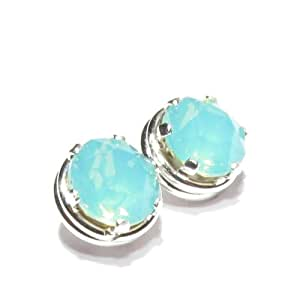 Solid Silver Stud Earrings mde with Pacific Opal crystal SWAROVSKI Elements.