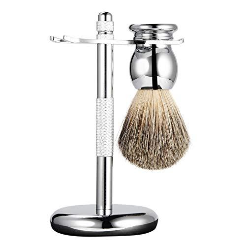 Rasierpinsel Bartbürste Bartbürsten-Rasiermesserhalter Aus Zinklegierung, Rasierbedarf, Abnehmbarer Rasierbartsatz, A