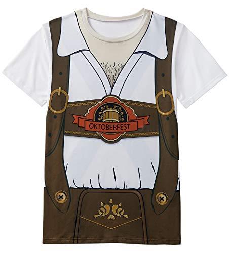 COSAVOROCK Herren Bayerische Oktoberfest Kostüm T-Shirts (AS:6XL, EUR:4XL, Braun) (Outfits Deutsches Bier)