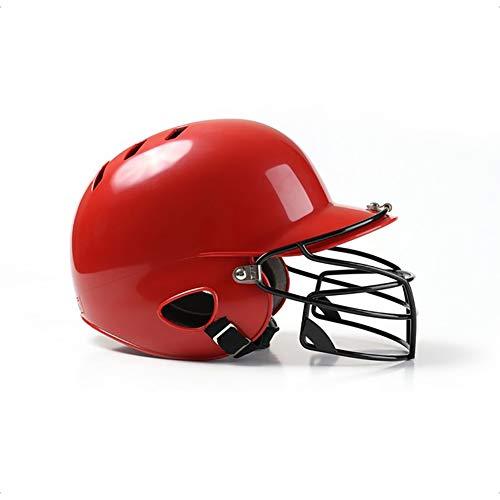 OOFAYWFD Baseball-Helm, Jugend und Kinder Erwachsene Baseball und Softball Helm Multicolor Gürtel Maske Outdoor-Sport ABS-Material,Red (Softball-helm Kinder)