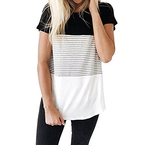 SEWORLD 2018 Damen Mode Frauen Sommer Herbst O-Ausschnitt Kurzarm Dreifach Farbe Block Streifen T-Shirt Casual Bluse(A-b-Schwarz,EU-44/CN-L)