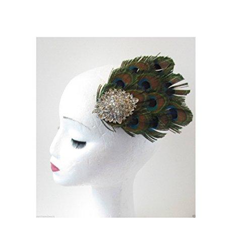 Starcrossed Beauty – Pince à cheveux vintage style années 20 argent et plume de paon