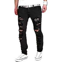 Doublehero Herren Stretchy Ripped Skinny Jeanshosen Denim Hosen, Mode  Freizeithose Risse Löcher Casual Herren Biker 9ecf77e0e6
