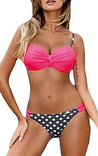 Donne Bikini Set Costume Da Bagno Triangolo Push Up Di Polka Dots E A Righe Costumi Del Reggiseno Bendare Imbottito Beachwear Due Pezzi Estivi Mare Bohemian Swimwear Rose