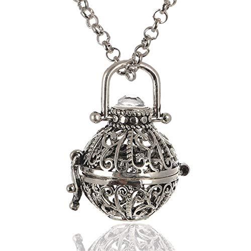 WISH4U Harmony Ball Halsketten für Frauen Aromatherapie Kette Damen Anhänger Aroma Oel Diffuser Charme Schmuck Geschenk Natürlicher Lavastein Perlen Kette