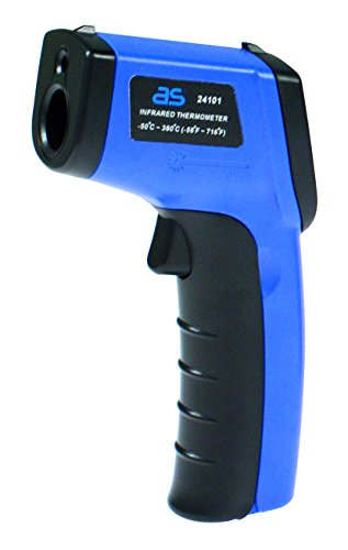 as - Schwabe Infrarot Thermometer/Pyrometer, berührungslose Messung der Temperatur von -50 bis +380 Grad Celsius, 1 Stück, blau, 24101 (Mit Laser Grill-thermometer)