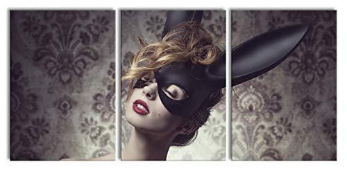 Pixxprint Maskierte attraktive Frau, XXL Leinwandbild in Übergröße 210x100cm Gesamtmaß 3 - Hase 5 Teilig Kostüm