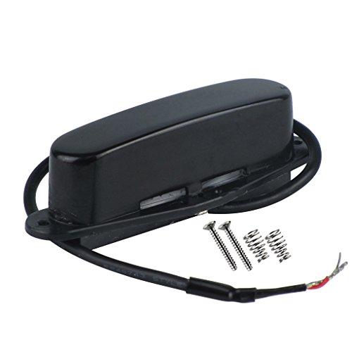FLEOR Single-Coil Gitarre Tonabnehmer Hals Keramik Magnet Tonabnehmer für Tele Style Gitarre Teile Ersatz, verchromte Abdeckung Neck schwarz (Schwarz Hals-abdeckung)