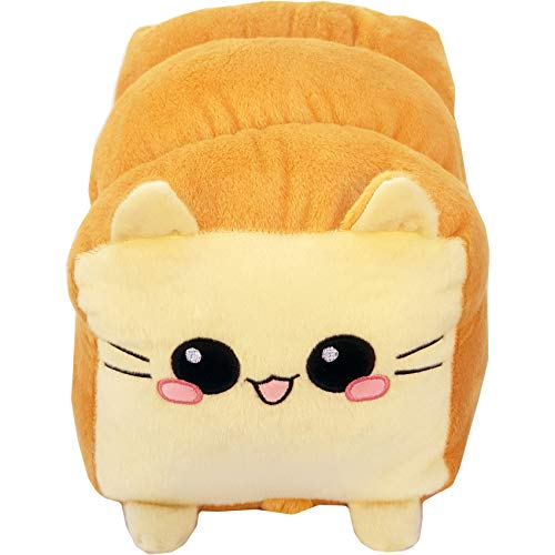 moodrush® Toast Cat/Brot-Katze Plüsch Kissen   Kuscheltier   alle Elemente aufgestickt (Nicht Bedruckt!)   waschbar   Weißbrot Kitty   ca. 37x27 cm