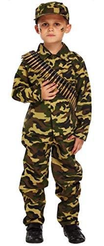 Fancy Me Jungen Tarnfarbe Ww1 WW2 Armee Soldat Junge Militär Streitkräfte Kostüm 4-12 Jahre - Grün, 7-9 Years (Jungen Militär Kostüm)