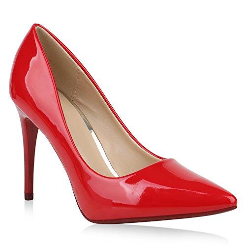 Spitze Damen Pumps Stiletto High Heels Elegante Party Schuhe Lack 153437 Rot 36 Flandell