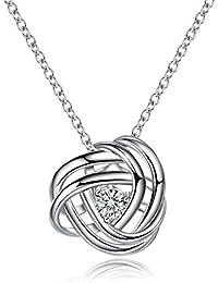 Noeud d'amour éternel entrelaçant les brins 925 collier en argent Sterling diamant - AmorAime blanc plaqué or bijoux cadeau pour les femmes filles